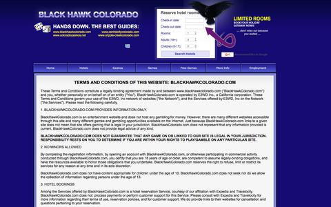Screenshot of Terms Page blackhawkcolorado.com - Terms and Conditions for use of www.blackhawkcolorado.com - captured Feb. 7, 2016