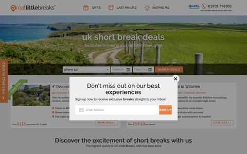 Screenshot of Home Page greatlittlebreaks.com - City Breaks & Weekend Breaks UK, Cheap Last Minute Short Breaks Deals - captured May 23, 2017