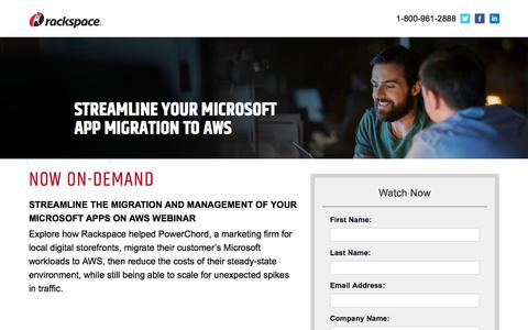 Screenshot of Landing Page rackspace.com - Streamline the Migration and Management of Your Microsoft Apps on AWS - captured Sept. 22, 2018