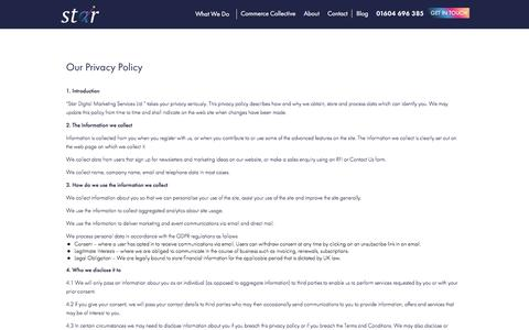 Screenshot of Privacy Page star-digital.co.uk - Privacy Policy | Star Digital - - captured July 26, 2018