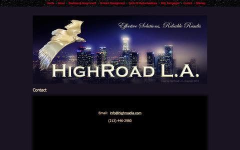 Screenshot of Contact Page highroadla.com - Contact - captured Sept. 30, 2014