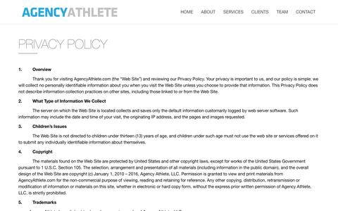 Screenshot of Privacy Page agencyathlete.com - privacy policy - Agency Athlete - captured July 25, 2016