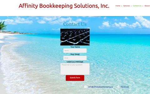 Screenshot of Contact Page affinitybookkeeping.ca - Affinity Bookkeeping Solutions, Inc. - Contact Us - captured Oct. 3, 2018