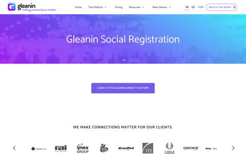 Screenshot of Login Page gleanin.com - Login - US - Gleanin - captured Jan. 29, 2018