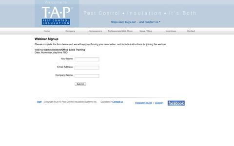 Screenshot of Signup Page tapinsulation.com - Webinars | T∙A∙P Pest Control Insulation Systems - captured Oct. 29, 2014