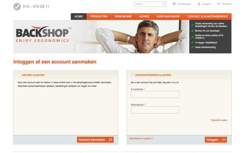 Screenshot of Login Page backshop.nl - Klant-login  - Backshop healthy computing - captured Nov. 22, 2016