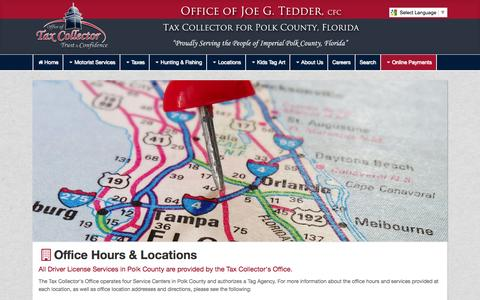 Screenshot of Locations Page polktaxes.com - Tax Collector for Polk County - captured Oct. 3, 2014