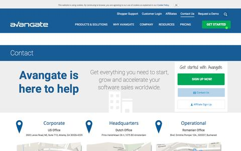Screenshot of Contact Page avangate.com - Contact Avangate - captured Sept. 30, 2016