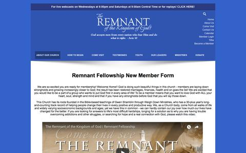 Screenshot of Signup Page remnantfellowship.org - Become a Member - captured Sept. 20, 2018
