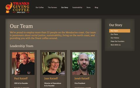 Screenshot of Team Page thanksgivingcoffee.com - Our Team - Thanksgiving Coffee - captured Feb. 25, 2016