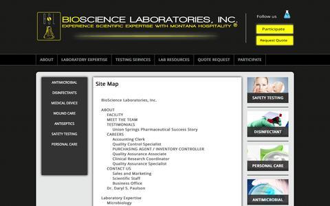 Screenshot of Site Map Page biosciencelabs.com - Site Map | Bioscience Labs | Bioscience Labs Site Map - captured Nov. 3, 2014