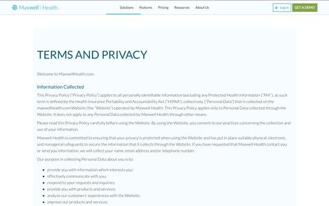 Screenshot of Privacy Page maxwellhealth.com - TERMS AND PRIVACY | Maxwell Health - captured April 20, 2018