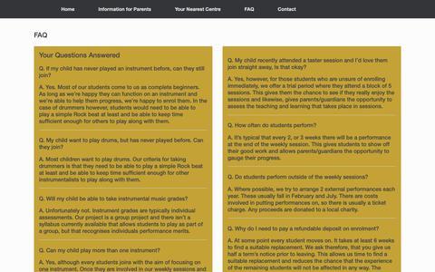 Screenshot of FAQ Page schoolofrockandpop.com - FAQ - captured Nov. 12, 2018