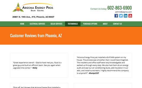 Screenshot of Testimonials Page aepros.com - Testimonials - Phoenix, AZ - Arizona Energy Pros - captured Oct. 8, 2017