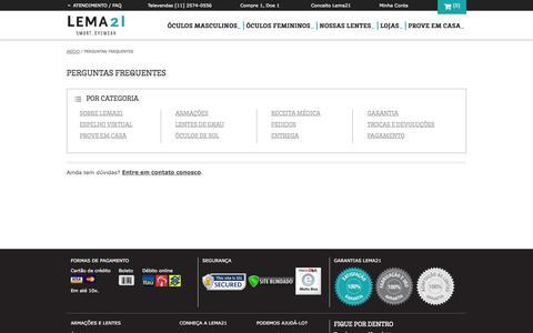Screenshot of FAQ Page lema21.com.br - Perguntas Frequentes - captured Sept. 16, 2014