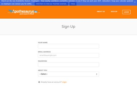 Screenshot of Signup Page apothesaurusrx.com - Sign Up | Apothesaurus Rx - captured Sept. 30, 2014