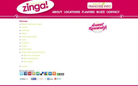 Screenshot of Site Map Page zingafroyo.com - Sitemap » Zinga! Frozen Yogurt - captured Oct. 27, 2014