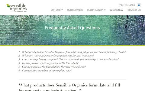 Screenshot of FAQ Page sensibleorganics.us - FAQs About Our Animal-Cruelty Free Cosmetics & Body Scrubs | Sensible Organics - captured Oct. 20, 2018