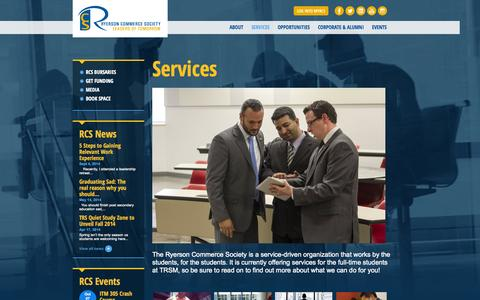 Screenshot of Services Page rcsonline.ca - Services | Ryerson Commerce Society - captured Oct. 6, 2014