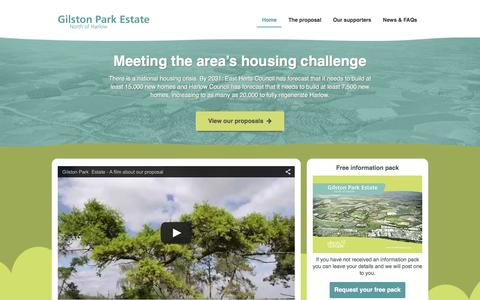 Screenshot of Home Page northharlow.com - Home | Gilston Park Estate North of Harlow - captured Jan. 28, 2016