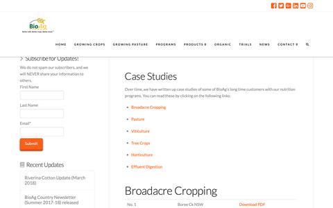 Screenshot of Case Studies Page bioag.com.au - BioAg Case Studies | BioAg - captured Dec. 18, 2018