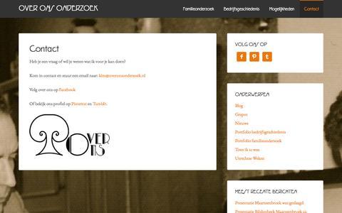 Screenshot of Contact Page overonsonderzoek.nl - Contact Over Ons Onderzoek - captured Oct. 7, 2014