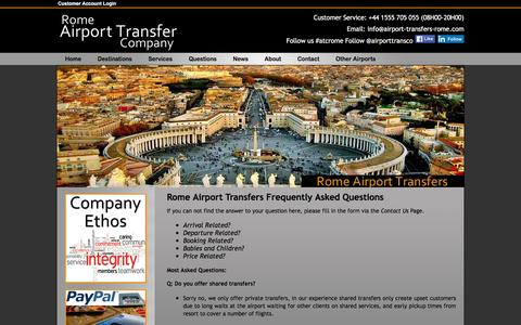 Screenshot of FAQ Page airport-transfers-rome.com - Rome Airport Transfers,  our most frequently asked questions - captured March 14, 2016