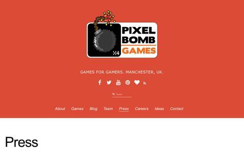 Screenshot of Press Page pixelbombgames.com - Press - captured Dec. 9, 2015