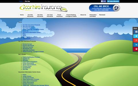 Screenshot of Site Map Page icarhireinsurance.com - Site Map | iCarhireinsurance.com - captured Jan. 15, 2016