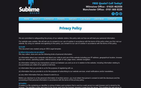 Screenshot of Privacy Page sublimedecor.co.uk - Privacy Policy | Painters & Decorators in Manchester & Cheshire | Sublime Decor - captured Sept. 30, 2014