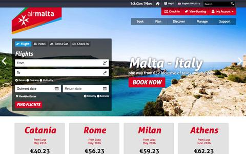 Screenshot of Home Page airmalta.com - Flights to Malta | Book your flights to Malta with Air Malta - captured Oct. 27, 2015