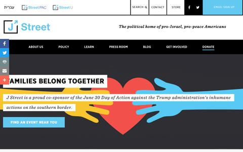 Screenshot of Home Page jstreet.org - J Street: The Political Home for Pro-Israel, Pro-Peace Americans - captured June 26, 2018