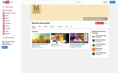 Screenshot of YouTube Page youtube.com - Brewers Association  - YouTube - captured Oct. 23, 2014