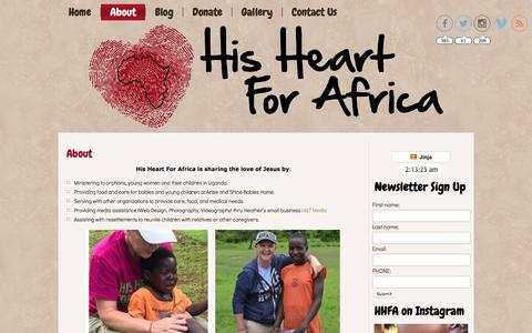 Screenshot of About Page hisheartforafrica.org - About - captured Jan. 30, 2016