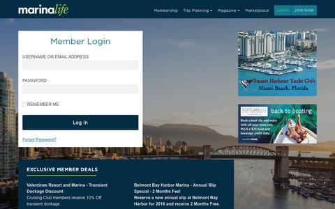 Screenshot of Login Page marinalife.com - Member Login - Marinalife - captured Oct. 1, 2018