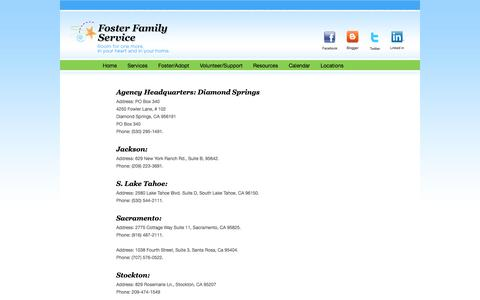Screenshot of Locations Page fosterfamilyservice.org captured Sept. 30, 2014