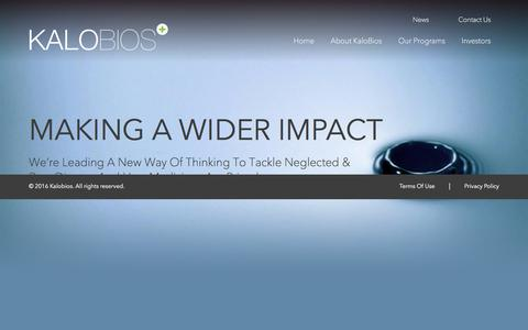 Screenshot of Home Page kalobios.com - Kalobios   Better Life Through Better Science - captured Sept. 6, 2016