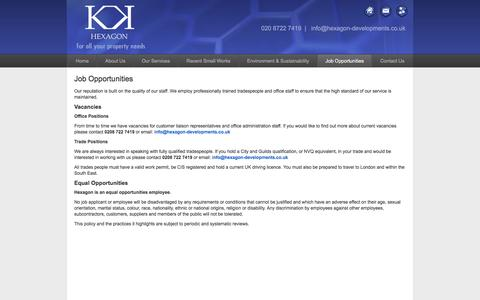 Screenshot of Jobs Page hexagon-developments.co.uk - Hexagon Developments | Job Opportunities - captured Jan. 29, 2016