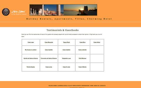 Screenshot of Testimonials Page lisbonholidayrentalportugal.com - Lodging - Text - captured Dec. 1, 2016