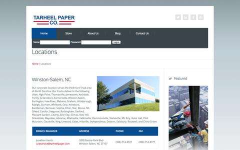 Screenshot of Contact Page Locations Page tarheelpaper.com - Tarheel Paper Company: A leading distributor in Packaging, Janitorial & Safety, located in North Carolina and Virginia. - captured Oct. 26, 2014