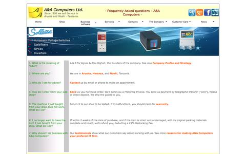 Screenshot of FAQ Page aacomputers.co.tz - A&A Computers | FAQ | A&A Computers - captured Feb. 1, 2016