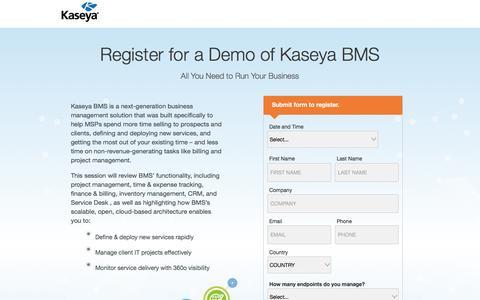 Screenshot of Landing Page kaseya.com - Register for a Demo of Kaseya BMS - captured May 10, 2017