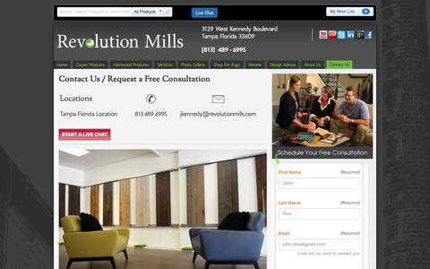 Screenshot of Contact Page revolutionmills.com - Contact Our Tampa Flooring Store | Revolution Mills - captured Oct. 26, 2014