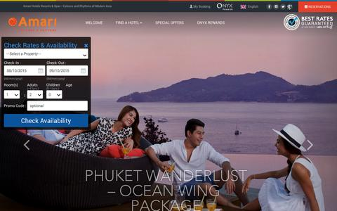 Screenshot of Home Page amari.com - Amari Hotels & Resorts - Colours and Rhythms of Modern Asia - captured Oct. 8, 2015