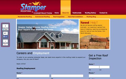 Screenshot of Jobs Page stamperroofing.com - Dallas Roofing Careers | Roofing Employment in DFW | Stamper Roofing & Construction - captured Oct. 7, 2014