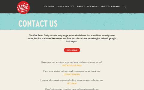 Screenshot of Contact Page vitalfarms.com - Contact Us   Vital Farms - captured Nov. 7, 2019
