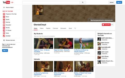 Screenshot of YouTube Page youtube.com - GlendaClwyd  - YouTube - captured Oct. 22, 2014