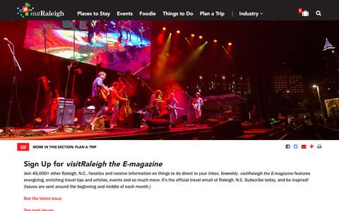 Screenshot of Signup Page visitraleigh.com - Sign up for visitRaleigh the E-magazine | Raleigh, N.C., Official Tourism E-newsletter - captured Sept. 22, 2018
