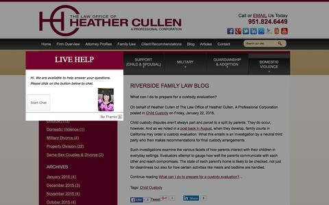 Screenshot of Blog lawcullen.com - Riverside Family Law Blog | The Law Office of Heather Cullen, A Professional Corporation - captured Jan. 26, 2016