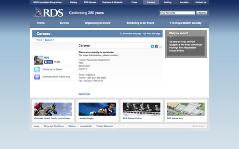 Screenshot of Jobs Page rds.ie - Careers - RDS - captured Nov. 4, 2014